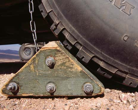 A secured tire using a wheel block