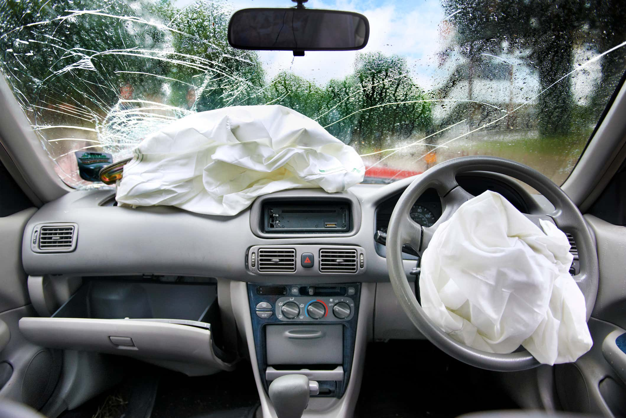 Air bags set off in a car.