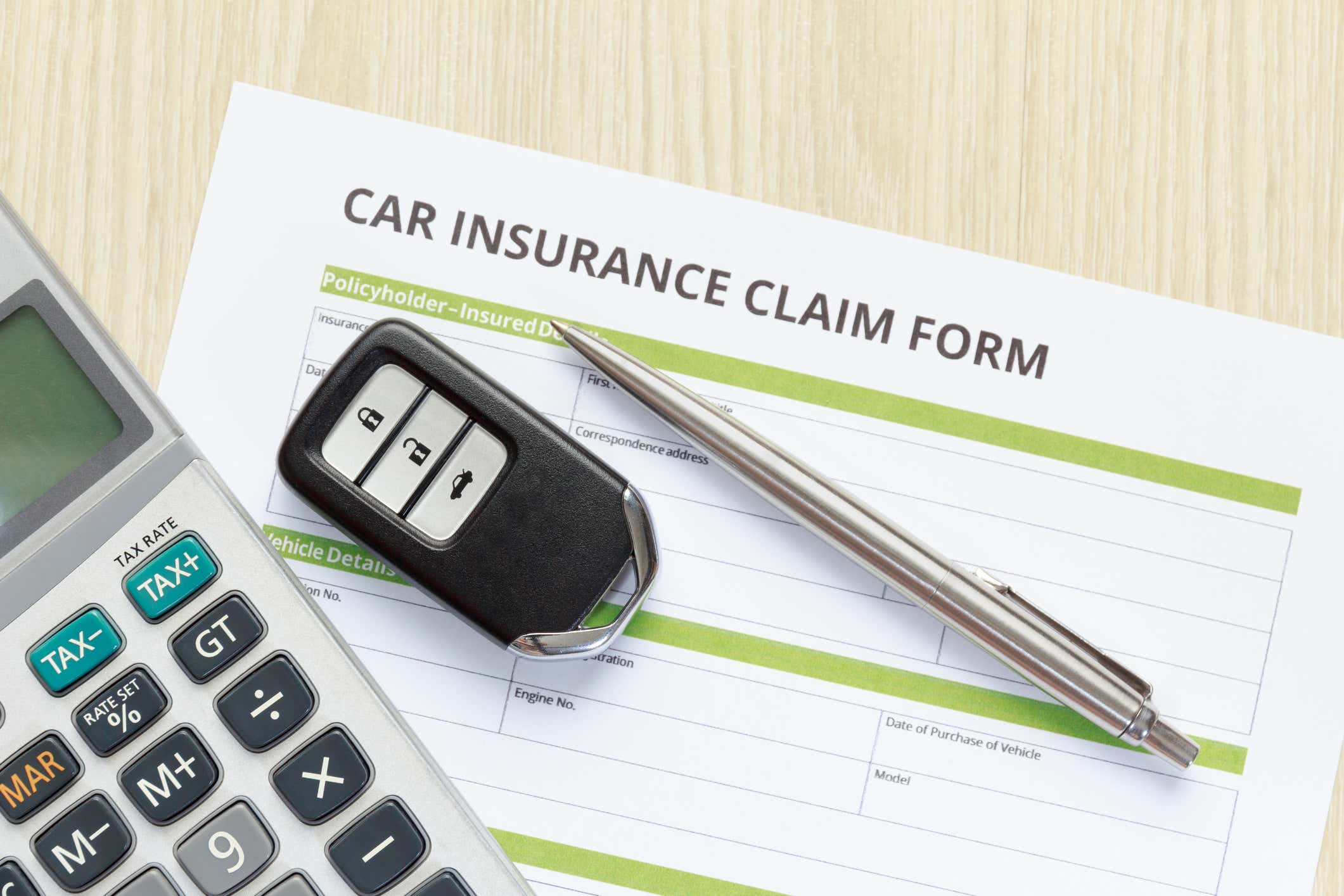 A car insurance claims form