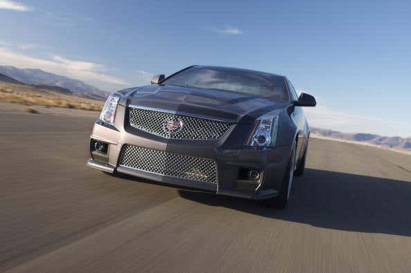 A Cadillac 2011 CTS-V Coupe on the highway