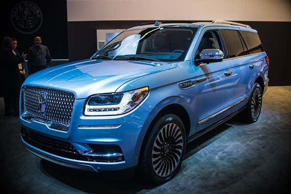 A blue Lincoln Navigator on display during the North American International Auto Show in Michigan.