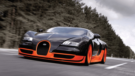 Bugatti on the highway