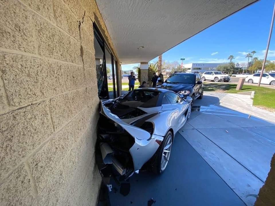 Traffic Accident Sends Unlucky Bmw Driver Crashing Into Mclaren Dealership
