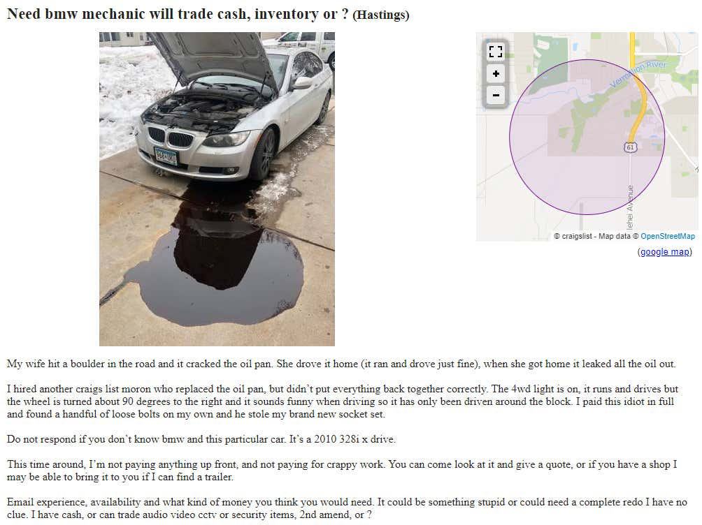 Desperate Man S Plea After Moron Mechanic Ruins Bmw Is An Instant Craigslist Classic