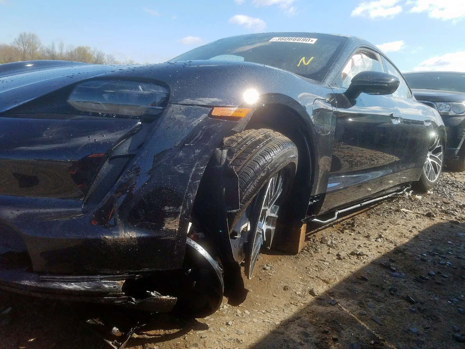 The First Wrecked 2020 Porsche Taycan Turbo Pops Up at a Salvage Auction