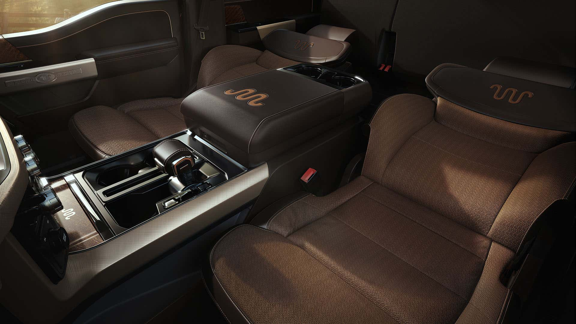 The new 2021 F-150 has front seats that fold flat for sleeping.