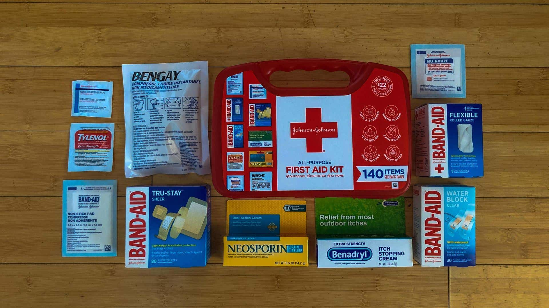 A large first aid with band-aids.