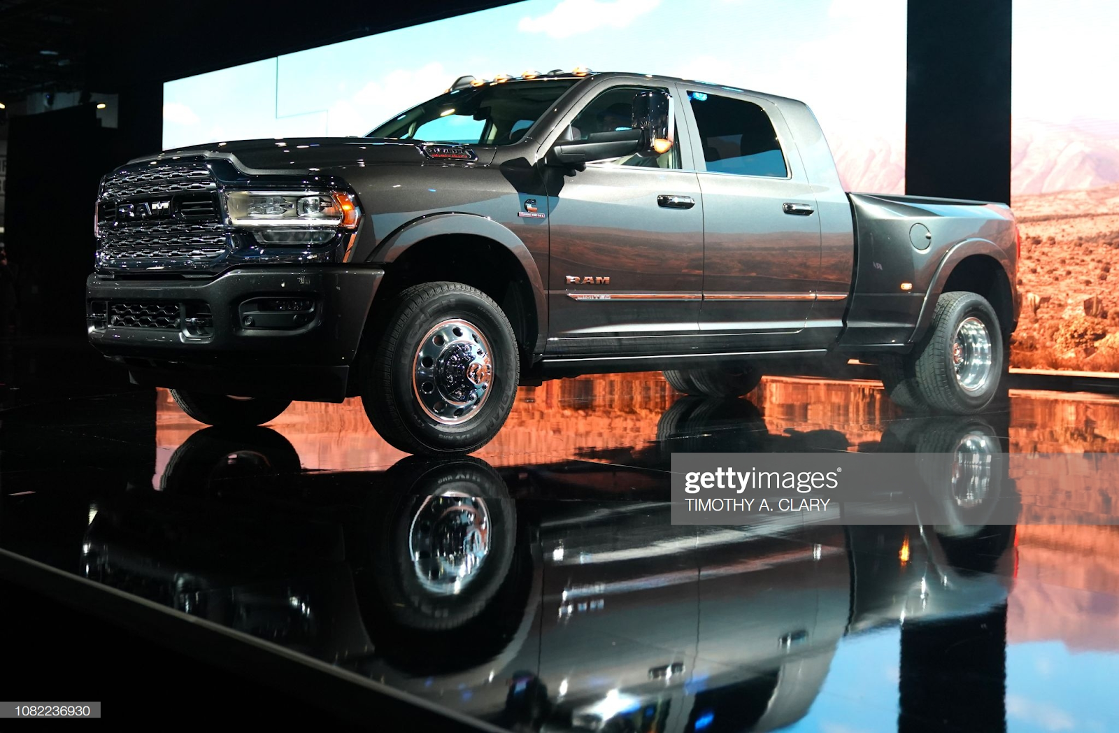 A Ram truck sitting on a stage.