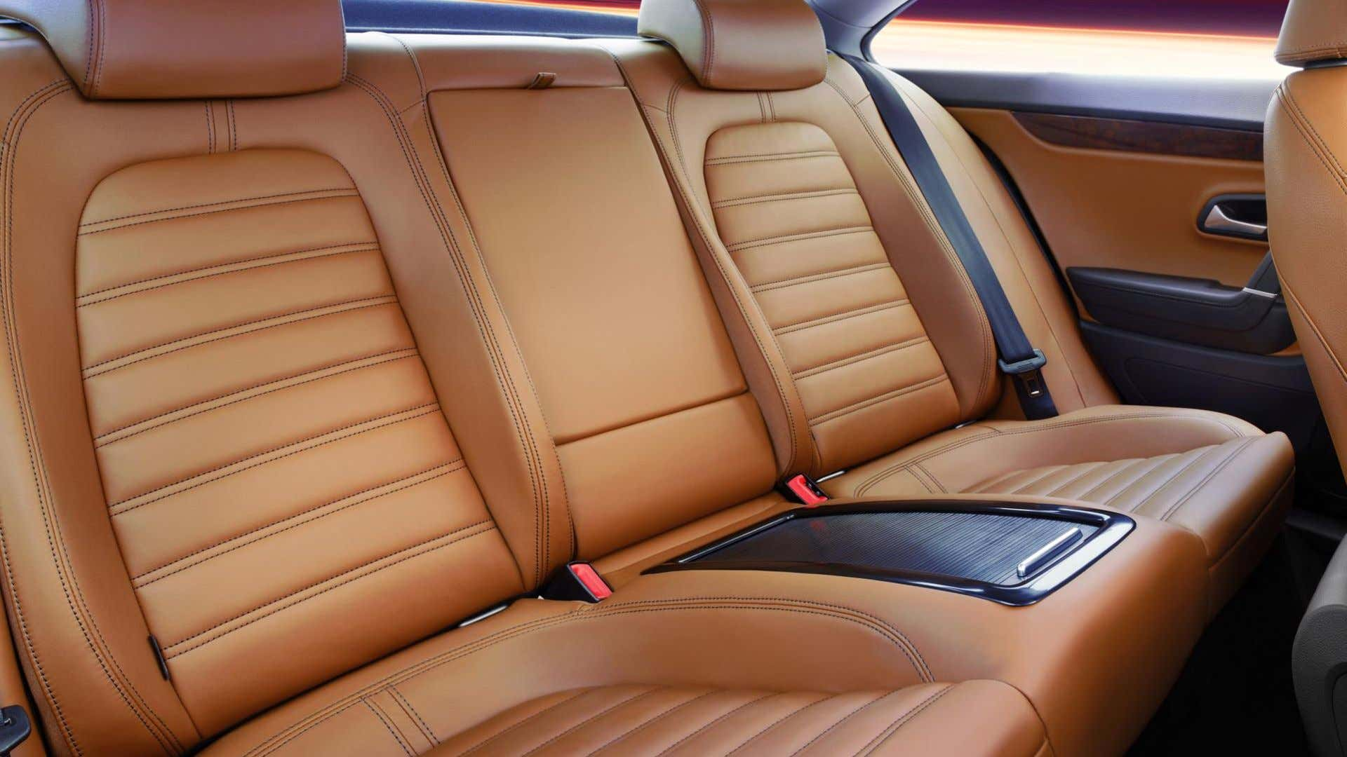 Rear leather seats of an SUV.