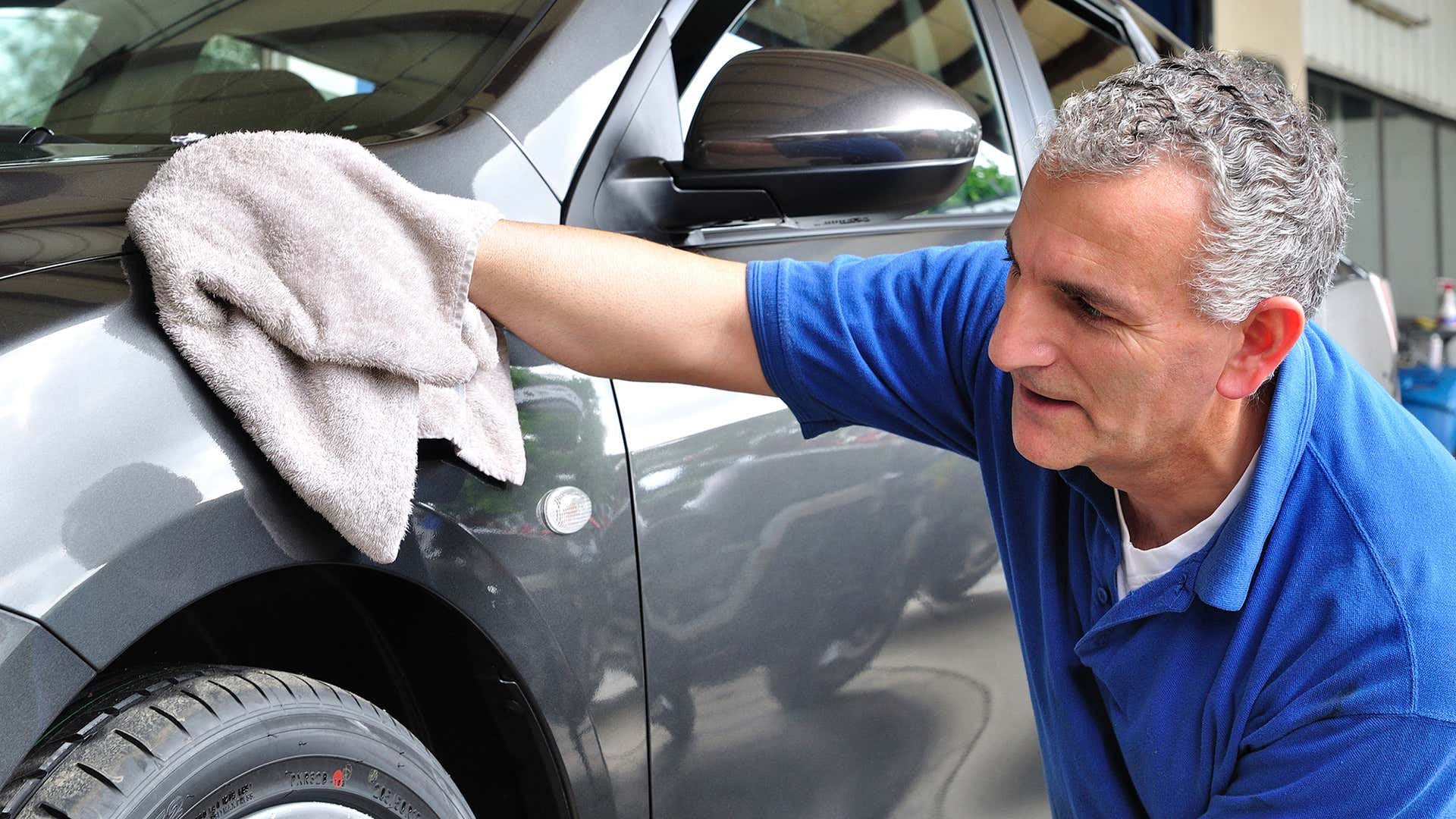 Use a microfiber towel to dry the car.