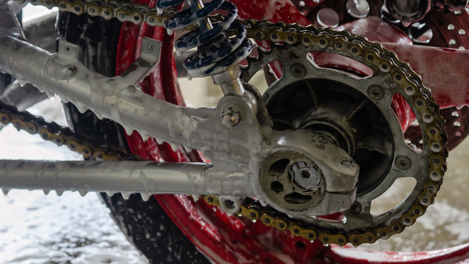 A motorcycle chain requires special attention, cleaning, and lubrication.