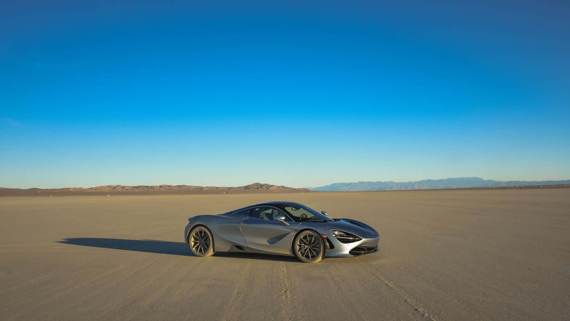 A twin-turbocharged McLaren 720S on El Mirage's dry lakebed.