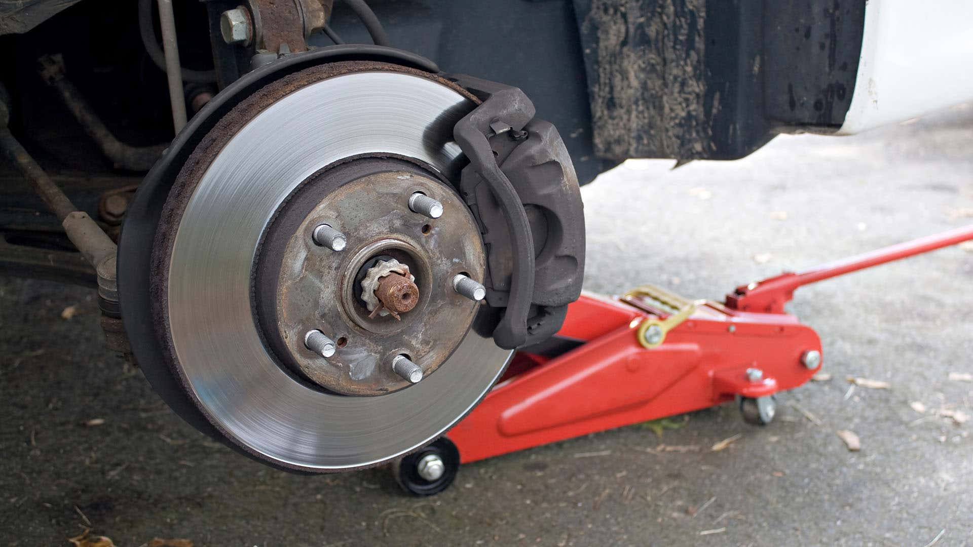 Disc brakes use a caliper to press the pad against the rotor to use friction to stop the vehicle.
