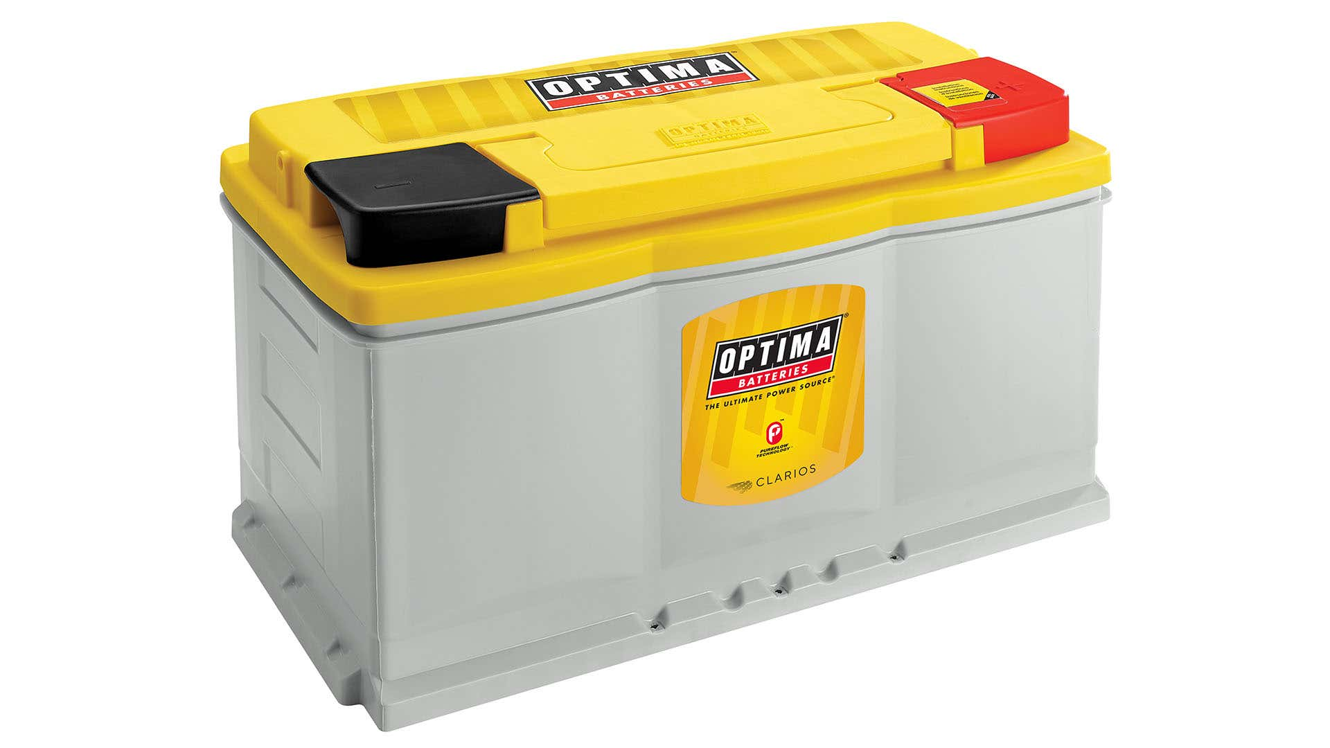 A yellow-top Optima AGM battery.