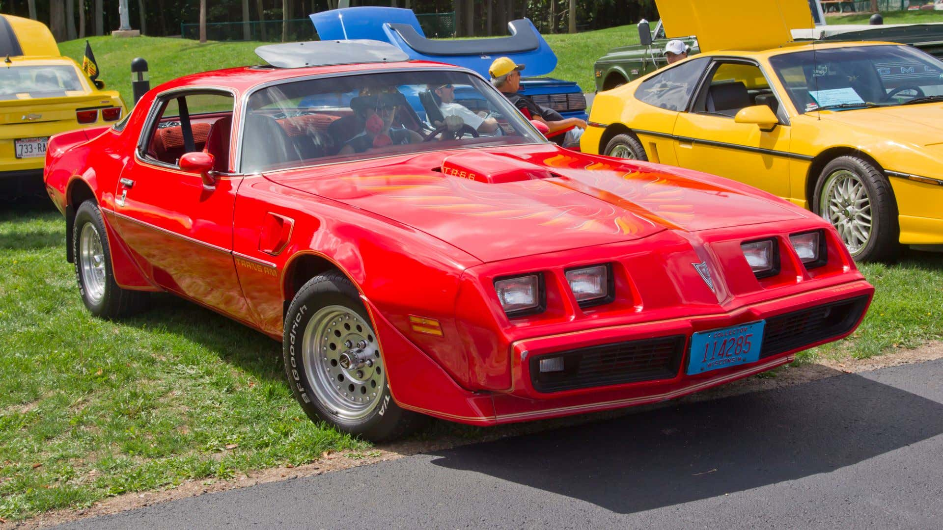 A perfectly red Pontiac Trans-Am fire chicken.
