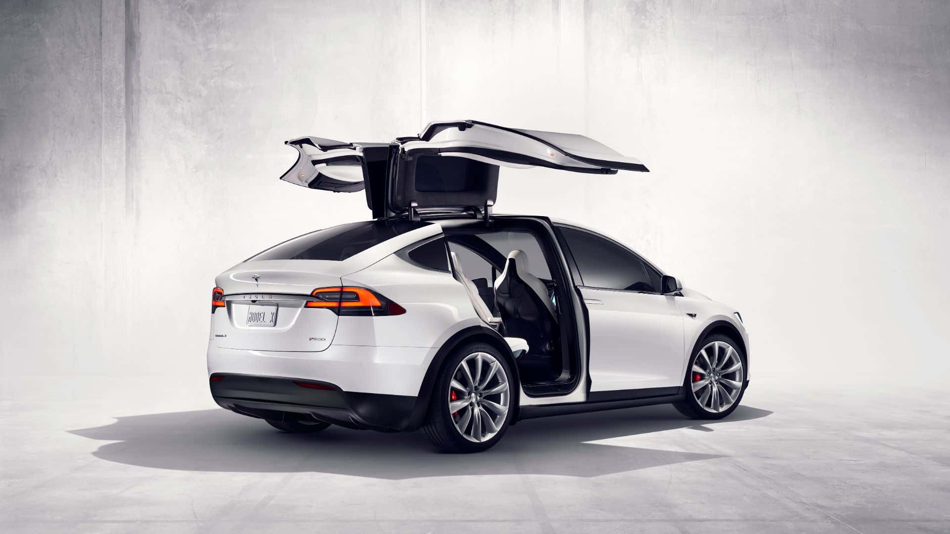 A Tesla Model X with its Falcon doors up in the billionaire position.