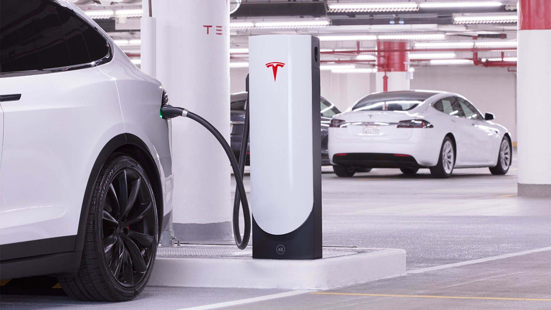 A Tesla Model X and Model S charging.
