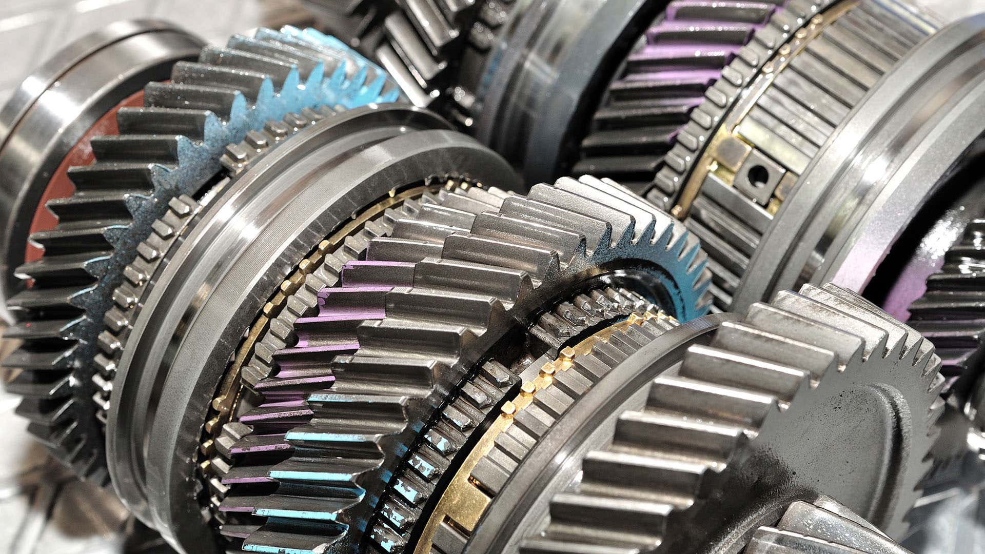 The gears inside an automatic transmission.