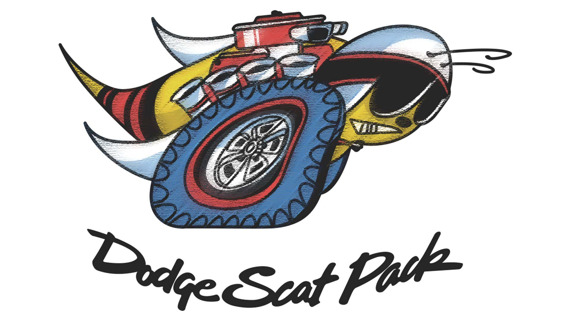 The Dodge Scat Pack bee features tires, engine parts, a helmet, and goggles as part of the design.