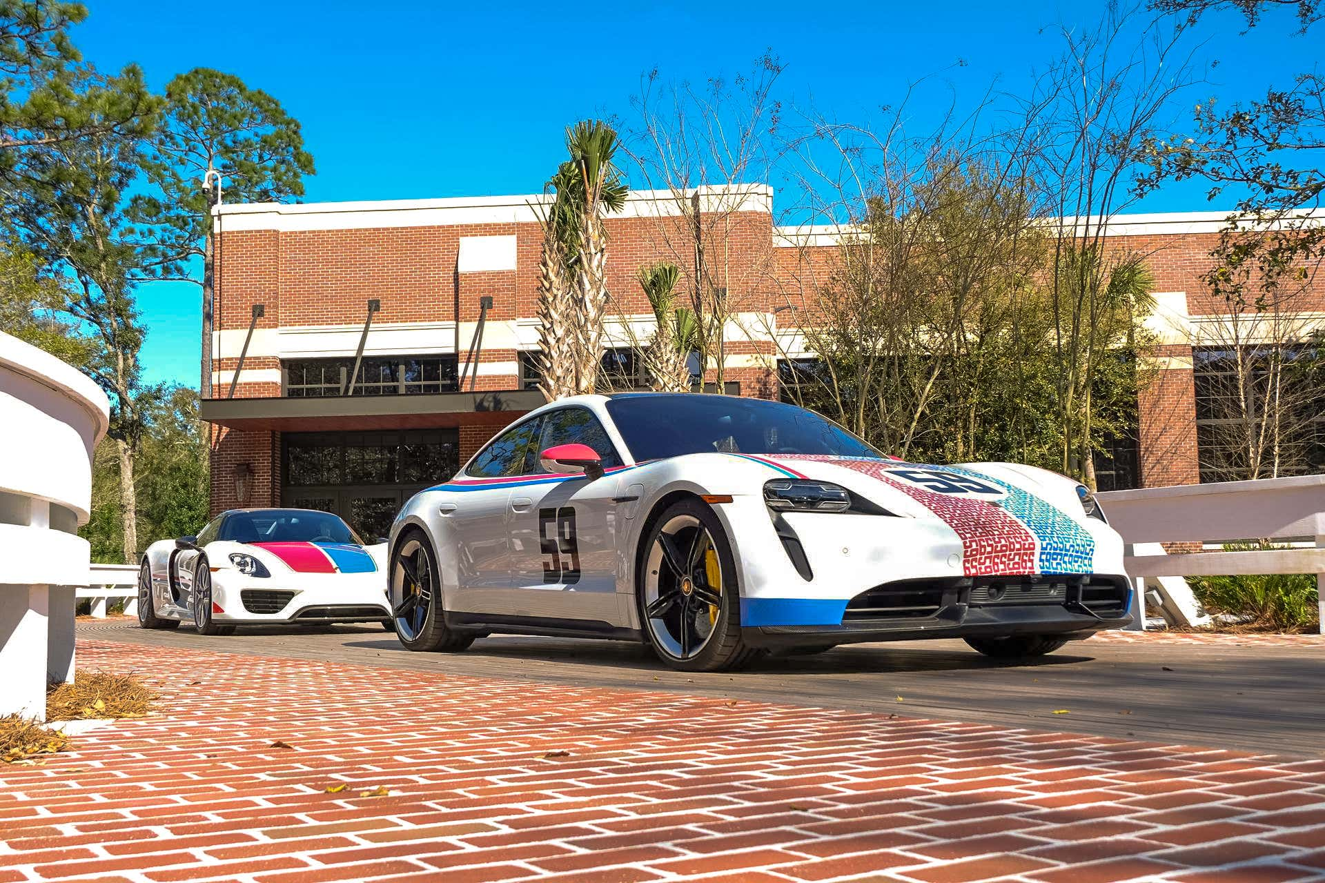 A Porsche Taycan and 918 Spyder.
