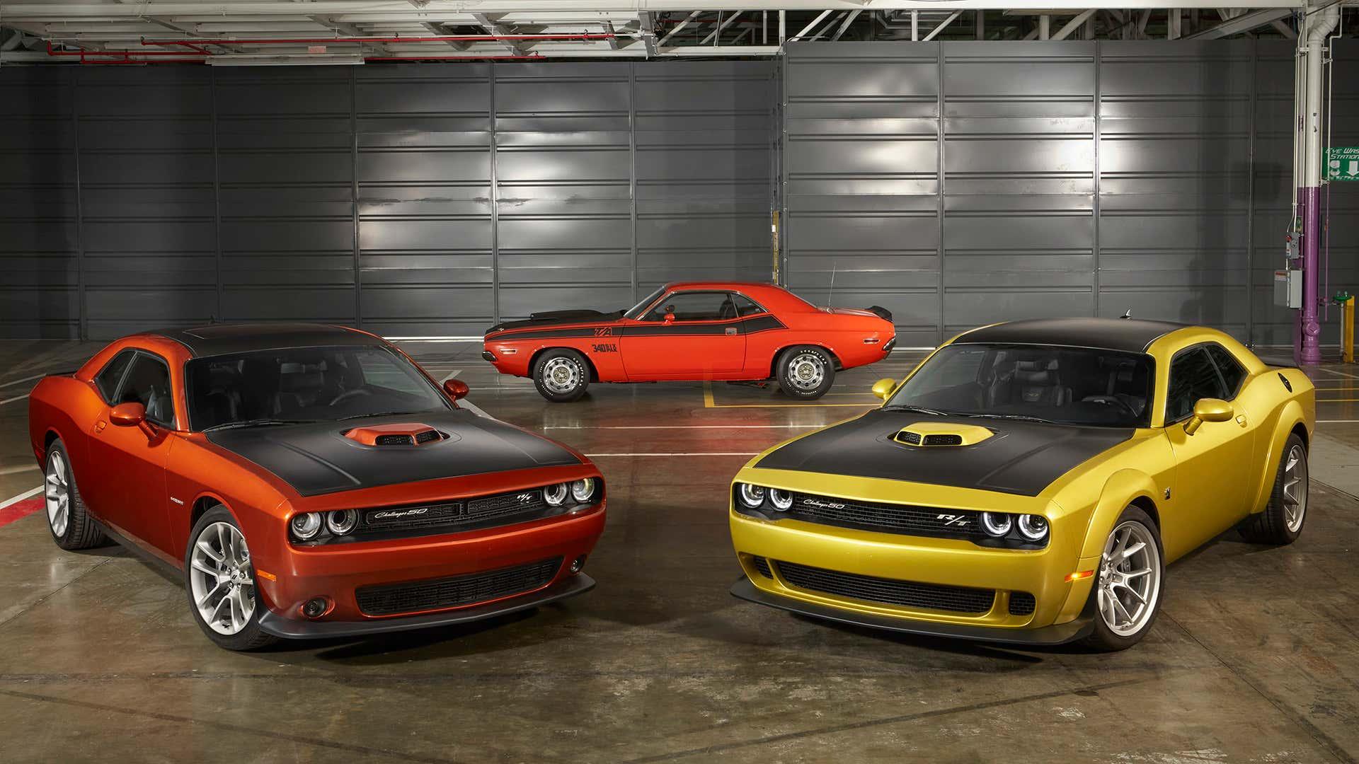 An assortment of Dodge Challengers.