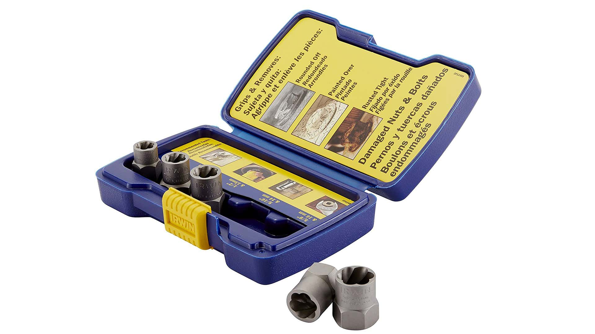 A 5-piece Irwin socket set in a blue and yellow case.