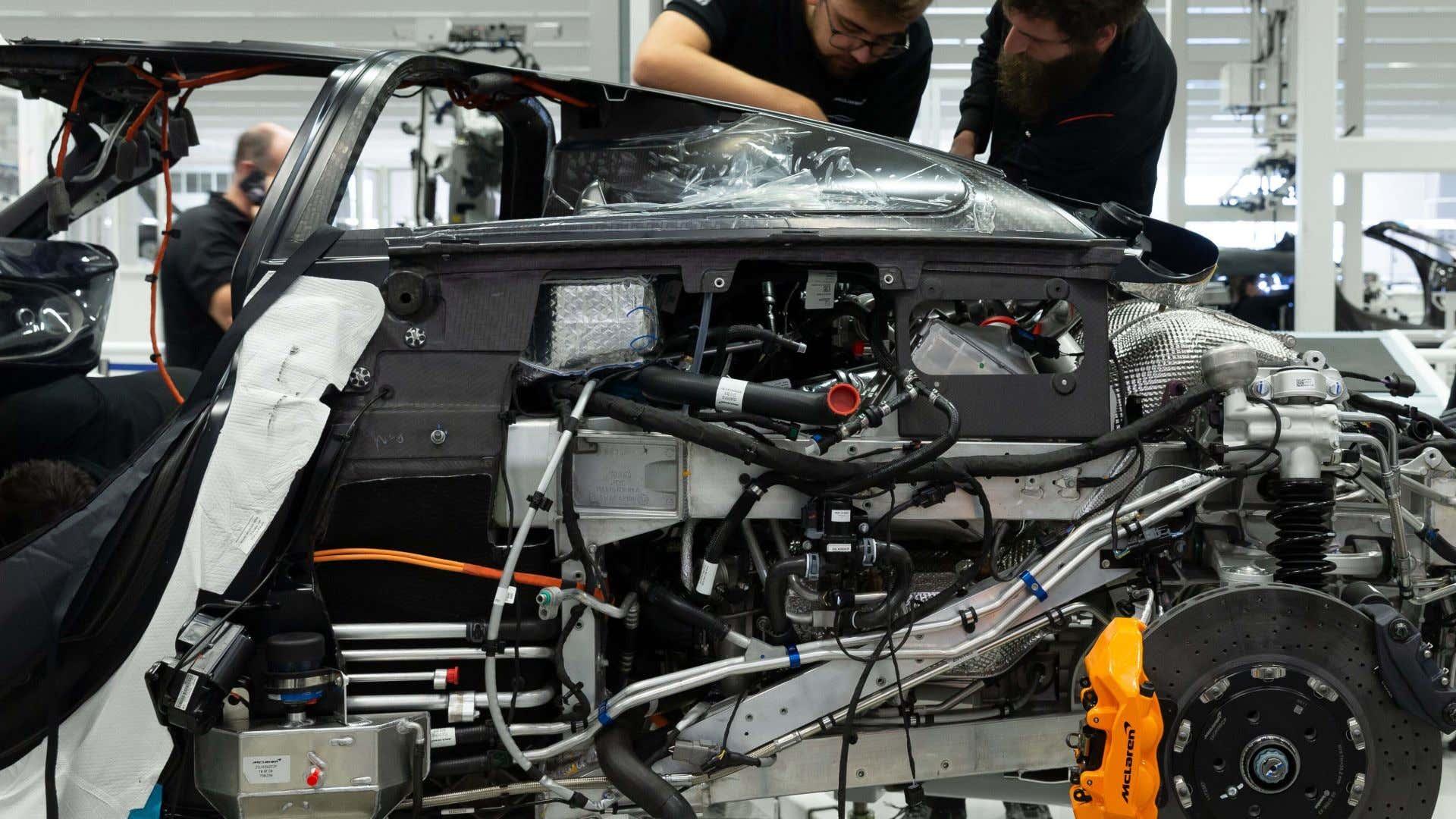 The hybrid McLaren Speedtail being assembled.