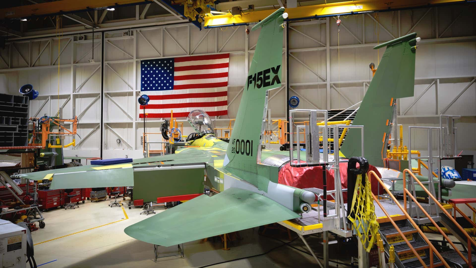 One of the first new Boeing F-15EX jets under construction for the U.S. Air Force.