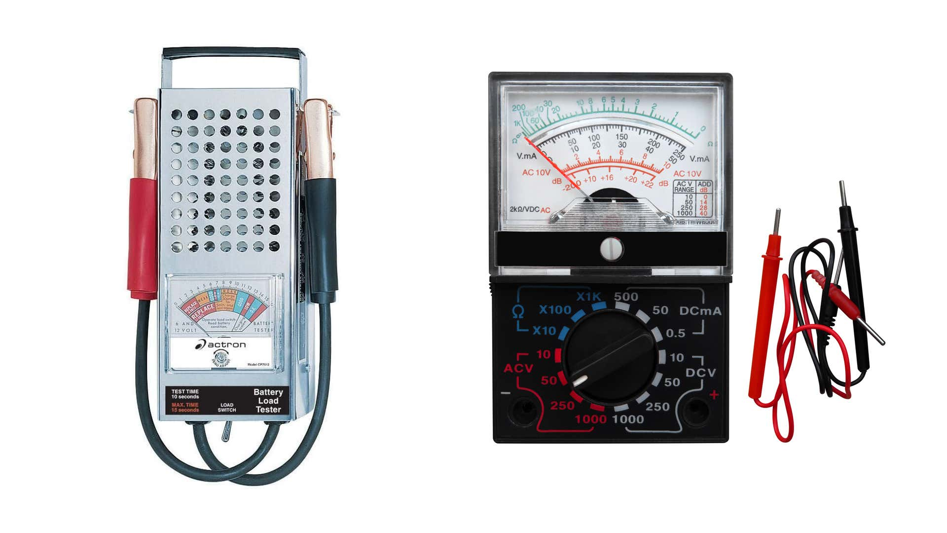A battery load tester and a multimeter on a white backdrop.