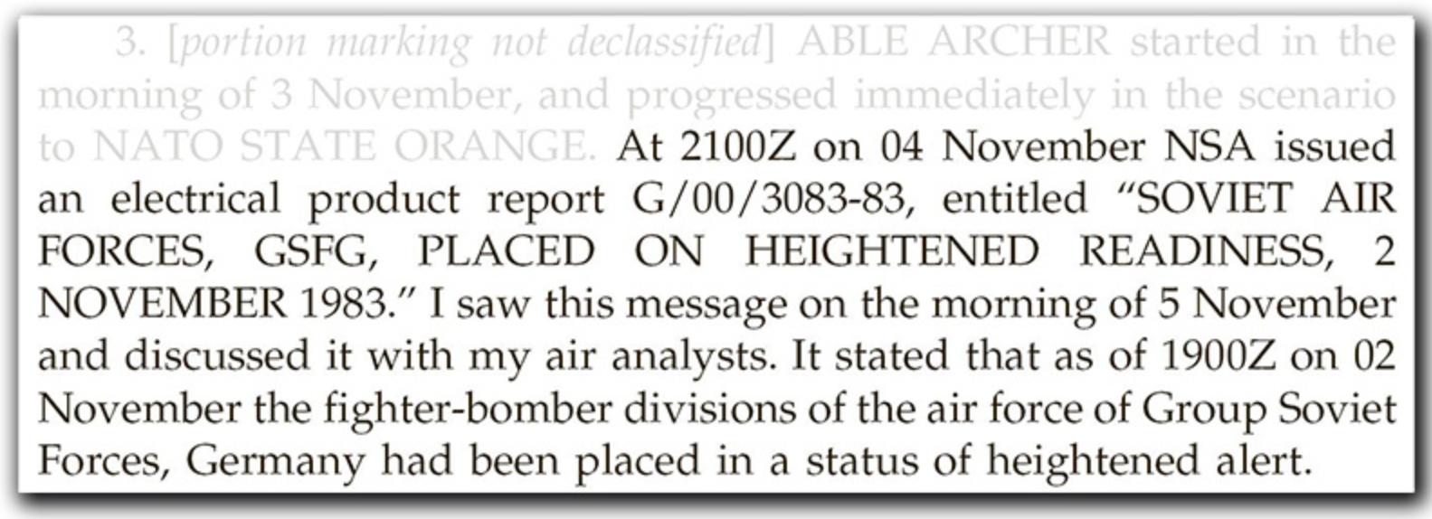 Неправильное толкование учений НАТО 1983 года привело к тому, что СССР поставил на вооружение 100 самолетов для ядерной войны