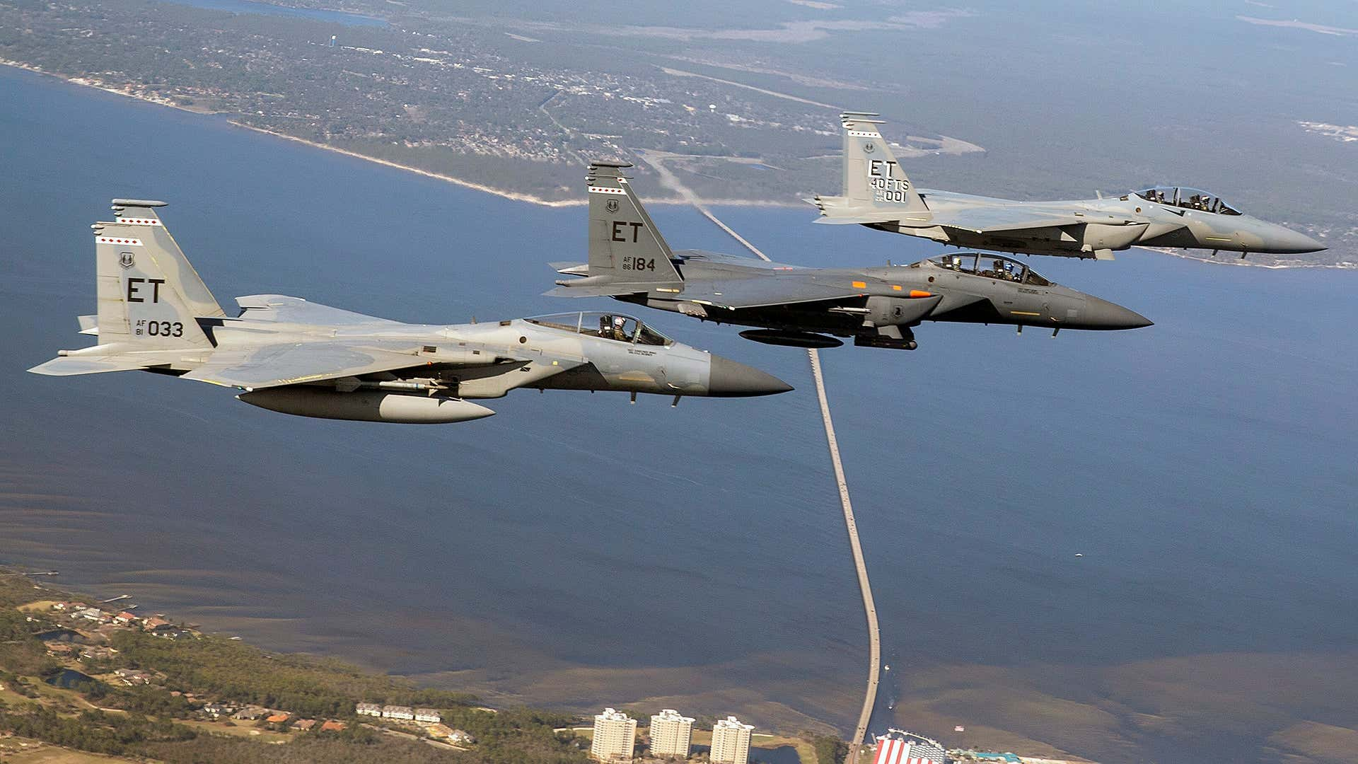 USAF F-15C/D, F-15E, and F-15EX, side-by-side.