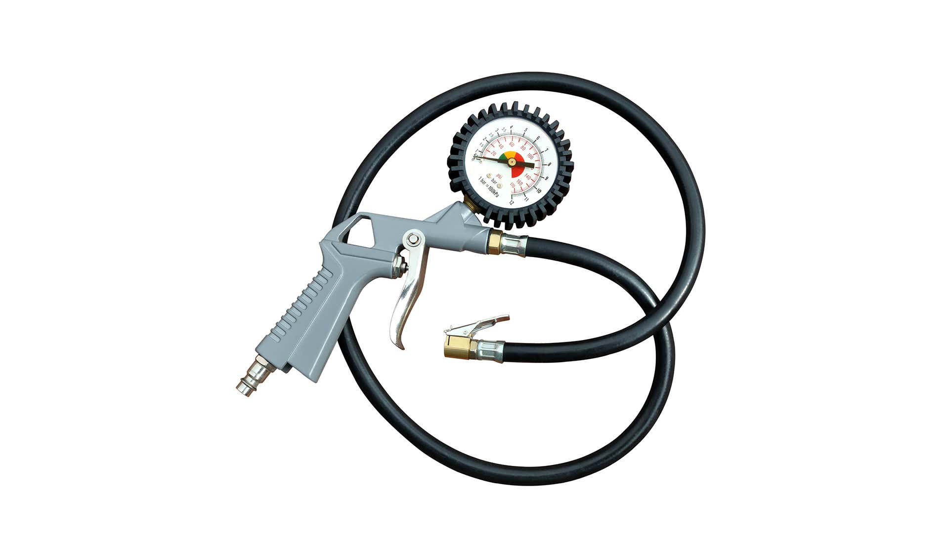A tire inflator with a built-in pressure gauge.