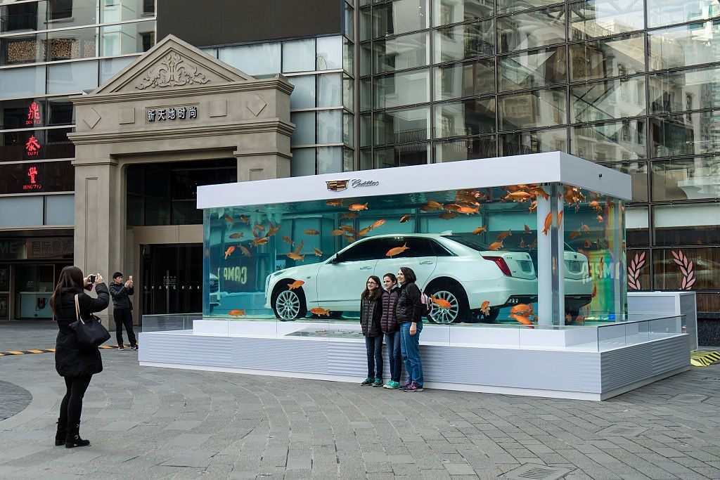 A View Of A Cadillac CT6 Luxury Car Placed In An Aquarium Tank In China