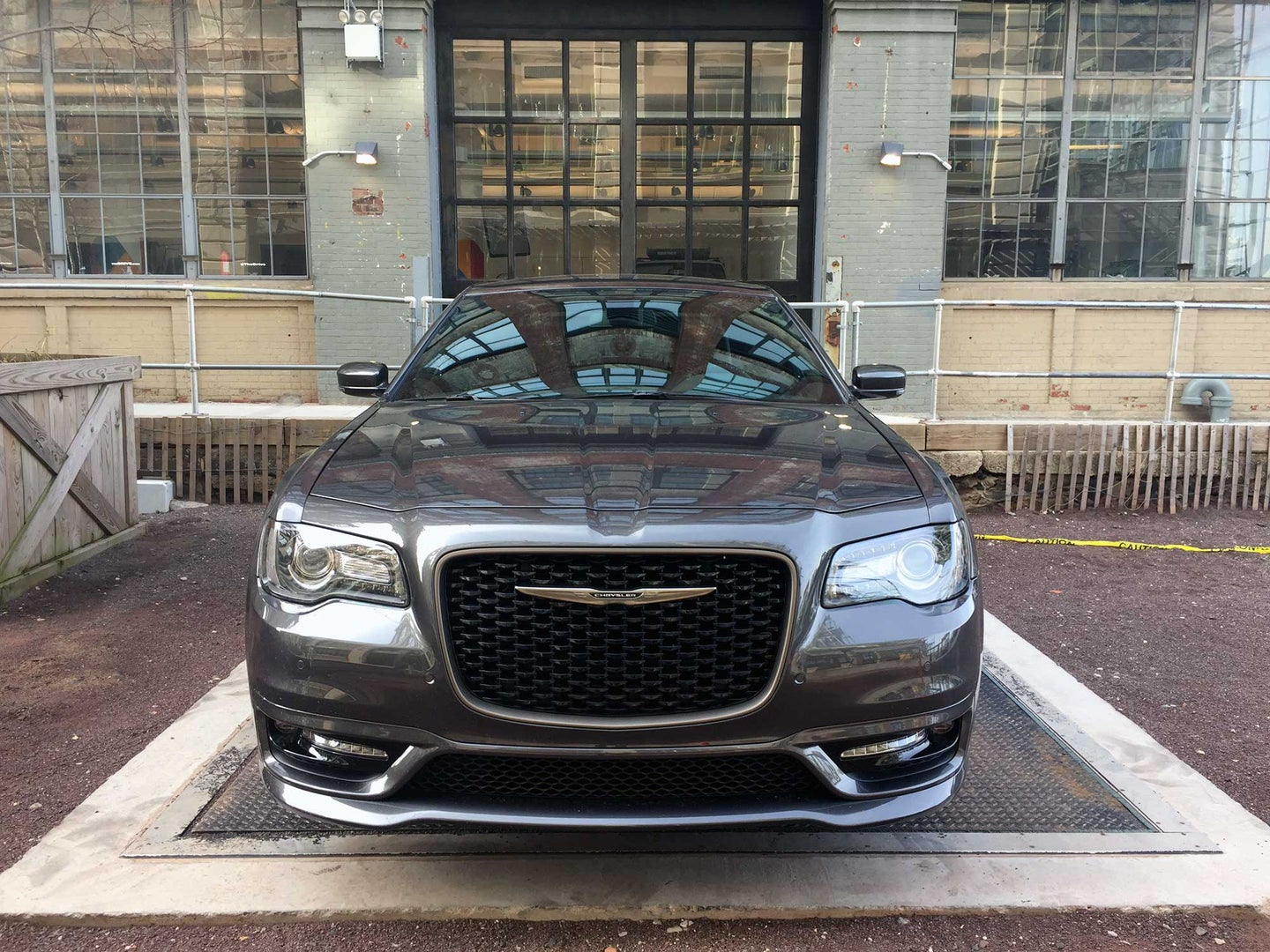 Head-on view of the 2017 Chrysler 300S at The Drive's Brooklyn HQ.