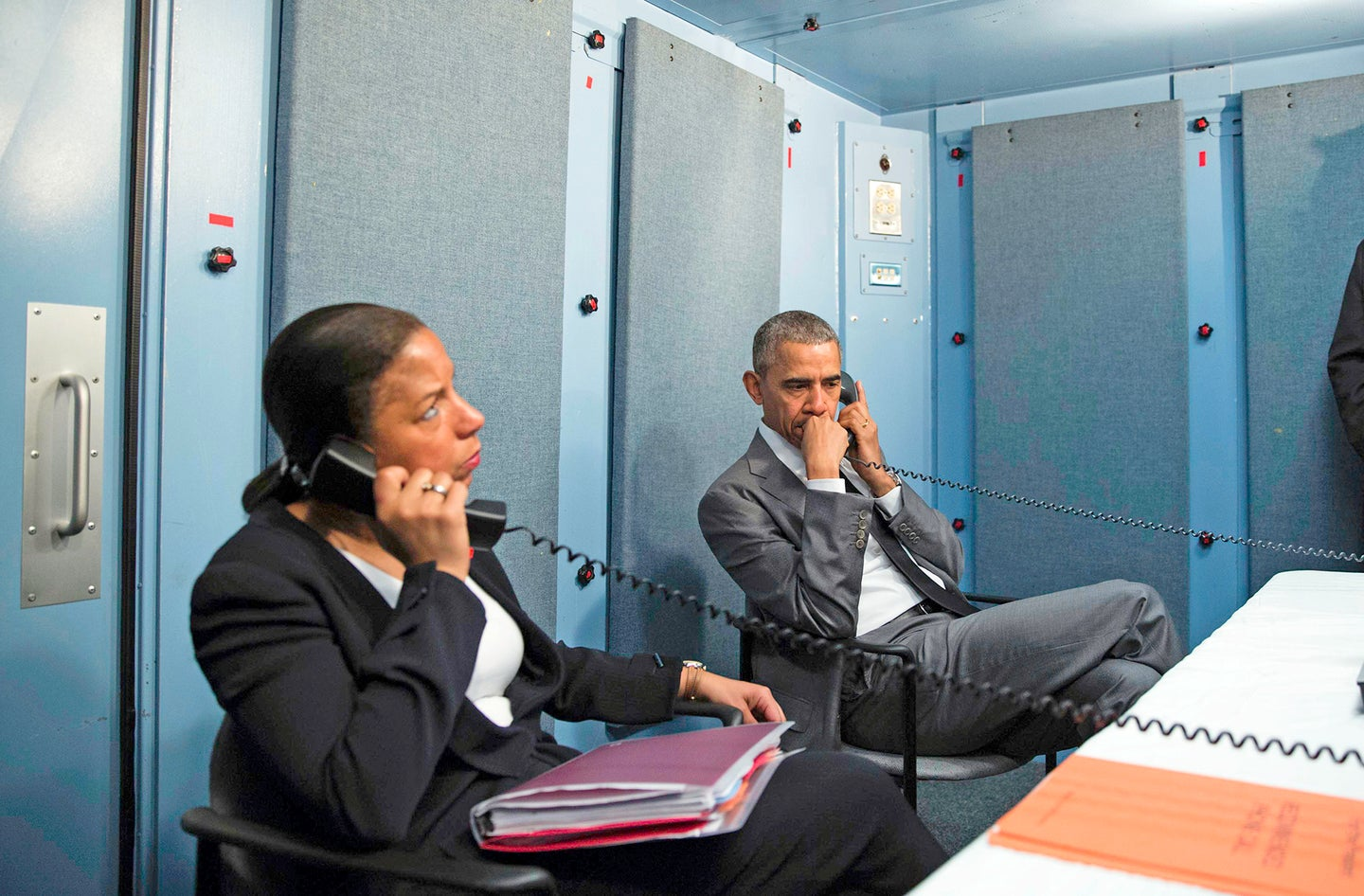 President Barack Obama and National Security Advisor Susan E. Rice talk on the phone with Homeland Security Advisor Lisa Monaco to receive an update on a terrorist attack in Brussels, Belgium. The President made the call from the residence of the U.S. Chief of Mission in Havana, Cuba, March 22, 2016. (Official White House Photo by Pete Souza)This official White House photograph is being made available only for publication by news organizations and/or for personal use printing by the subject(s) of the photograph. The photograph may not be manipulated in any way and may not be used in commercial or political materials, advertisements, emails, products, promotions that in any way suggests approval or endorsement of the President, the First Family, or the White House.