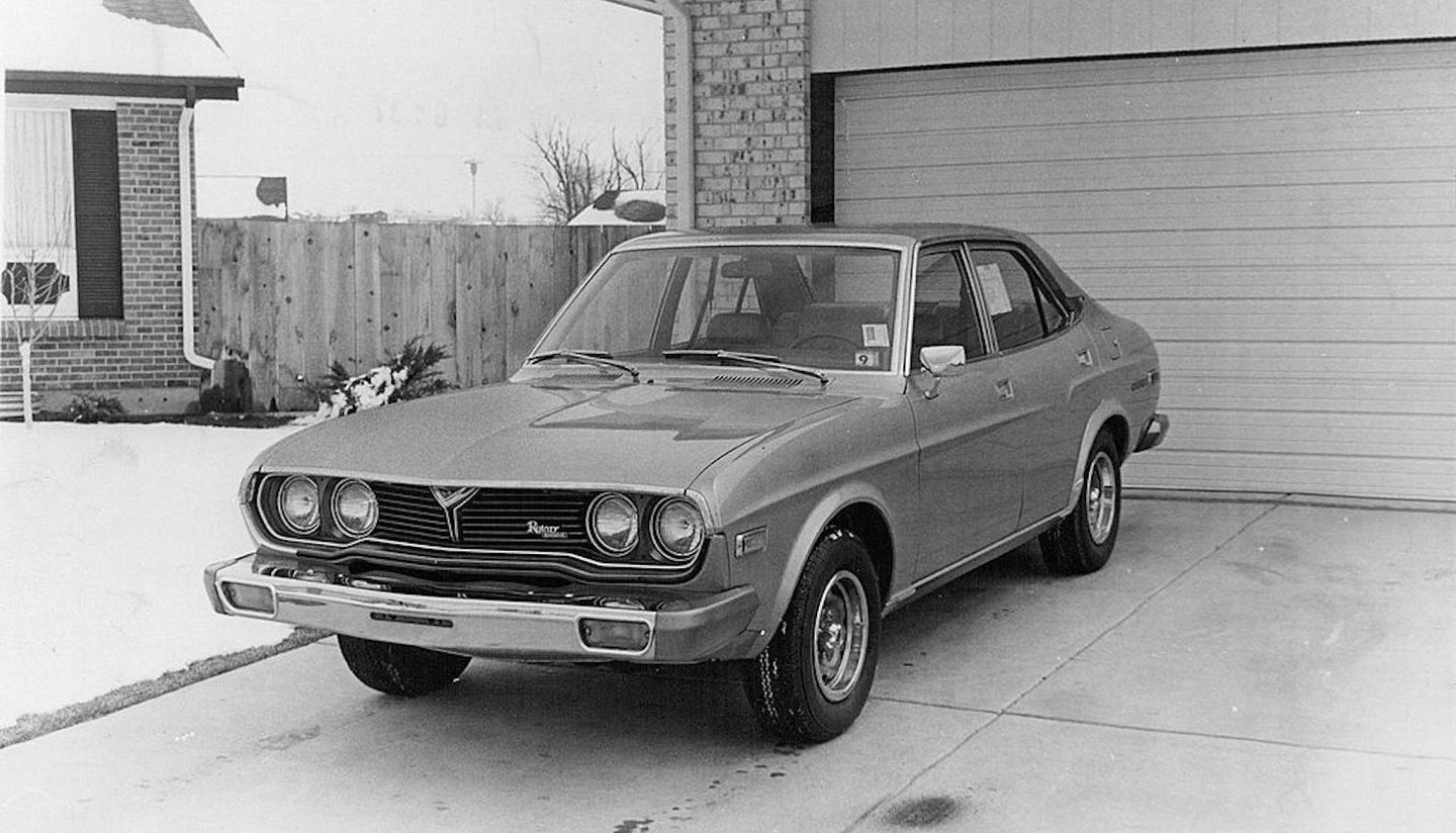 APR 19 1974, APR 21 1974; Mazda RX4 Larger, More Powerful, Luxurious Rotary Engine Car; Credit: Denv