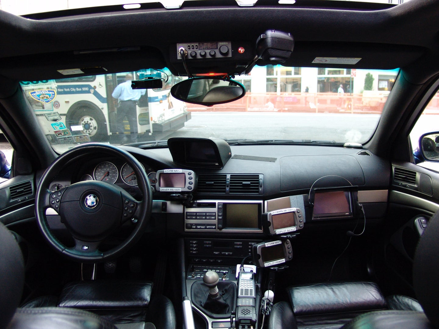 Interior of Alex Roy's Cannonball record setting M5
