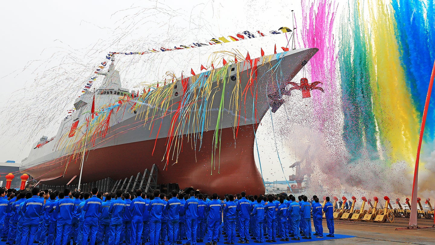 China's First Home-grown Missile Destroyer Launched In Shanghai