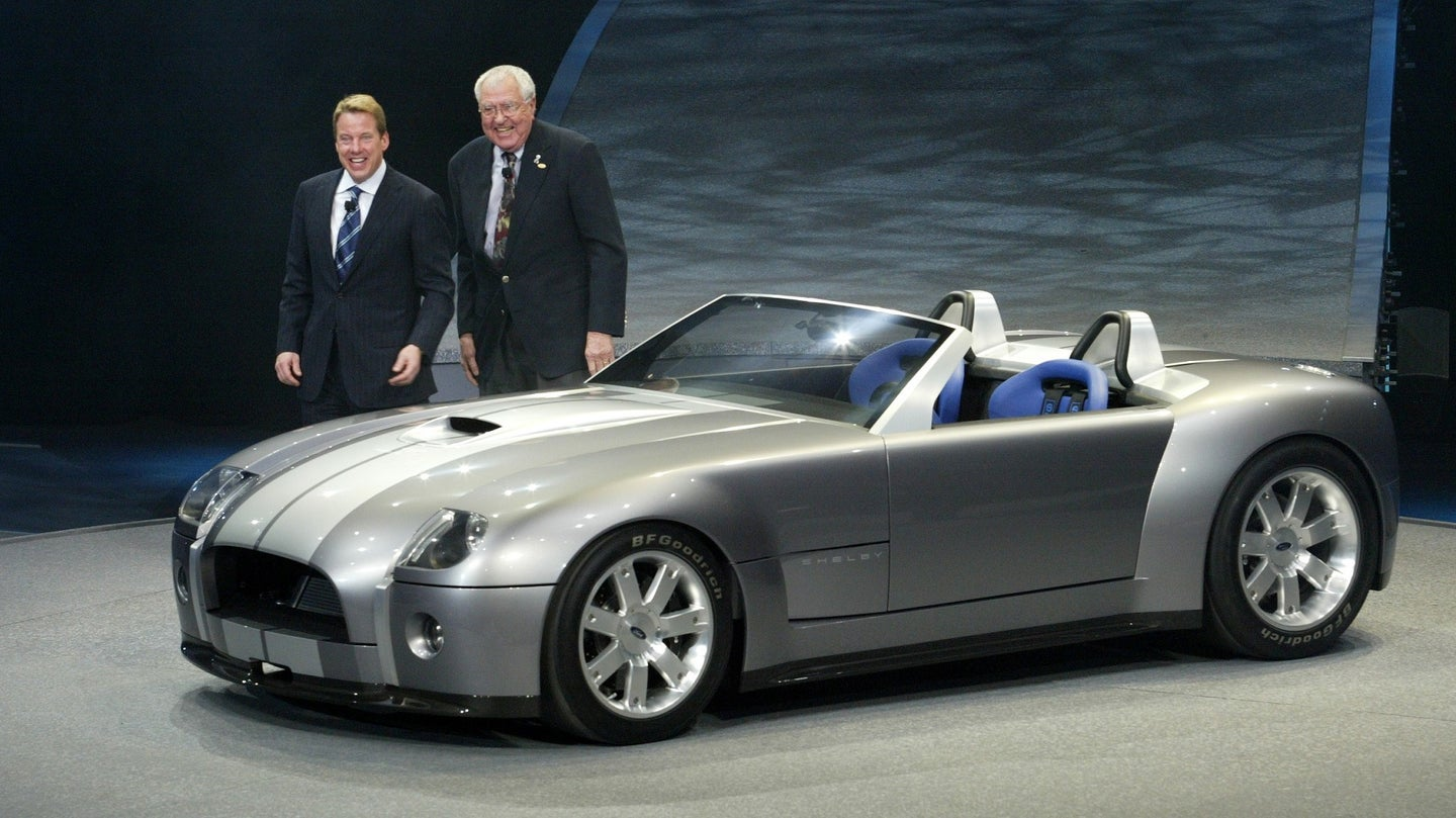 NAIAS 2004-Carroll Shelby, , and Bill Ford Jr introduce the Ford Shelby Cobra Concept Sunday Night d