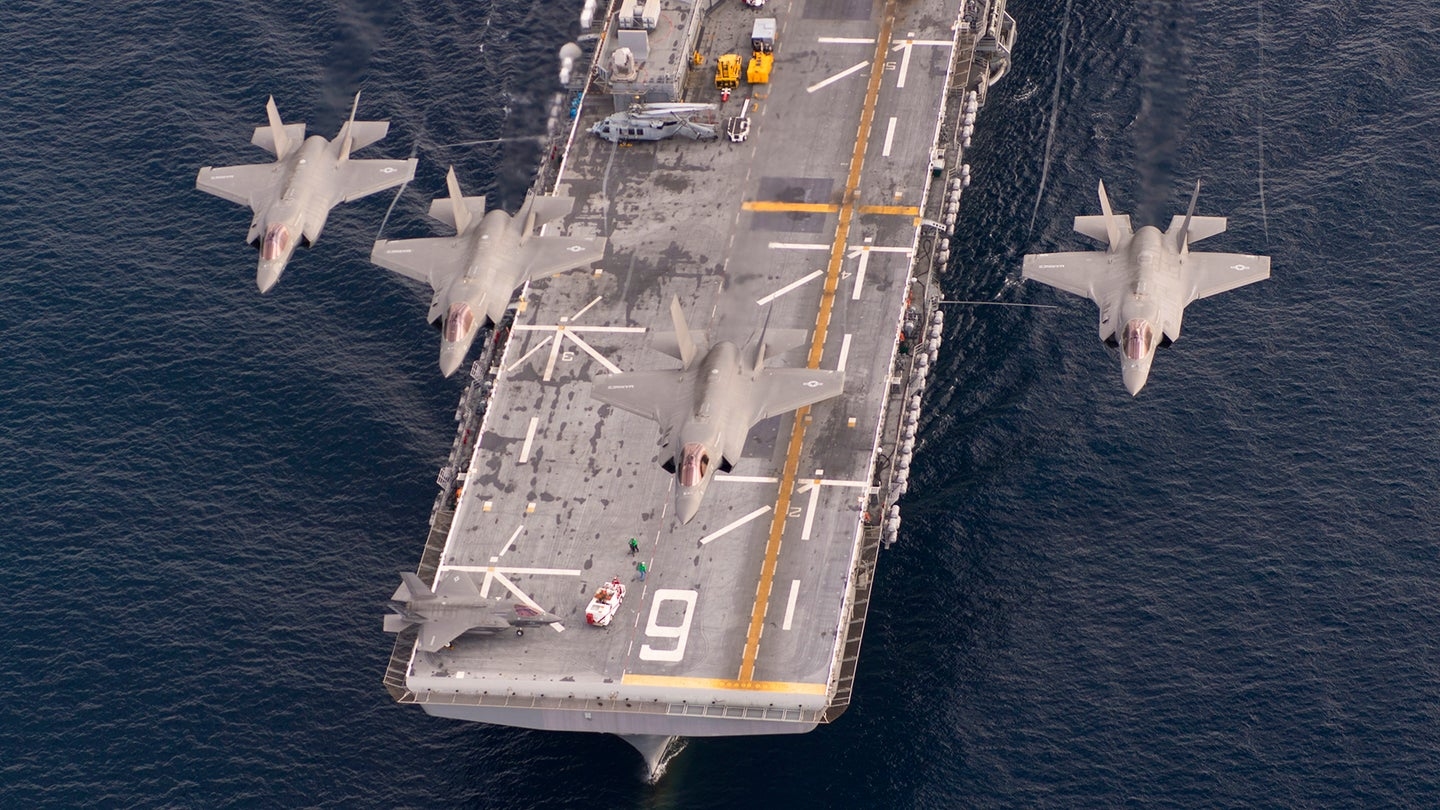VMX-1 F-35Bs over USS America on 20 November 2016.