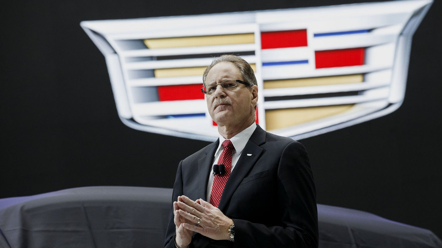 Johan de Nysschen, president of General Motors Co.'s Cadillac unit, speaks before unveiling the Cadillac XT5 luxury sports utility vehicle (SUV) during the Los Angeles Auto Show in Los Angeles, California, U.S., on Thursday, Nov. 19, 2015. The 2015 LA Auto Show will be open to the public from Nov. 20-29. Photographer: Patrick T. Fallon/Bloomberg *** Local Caption *** Johan de Nysschen