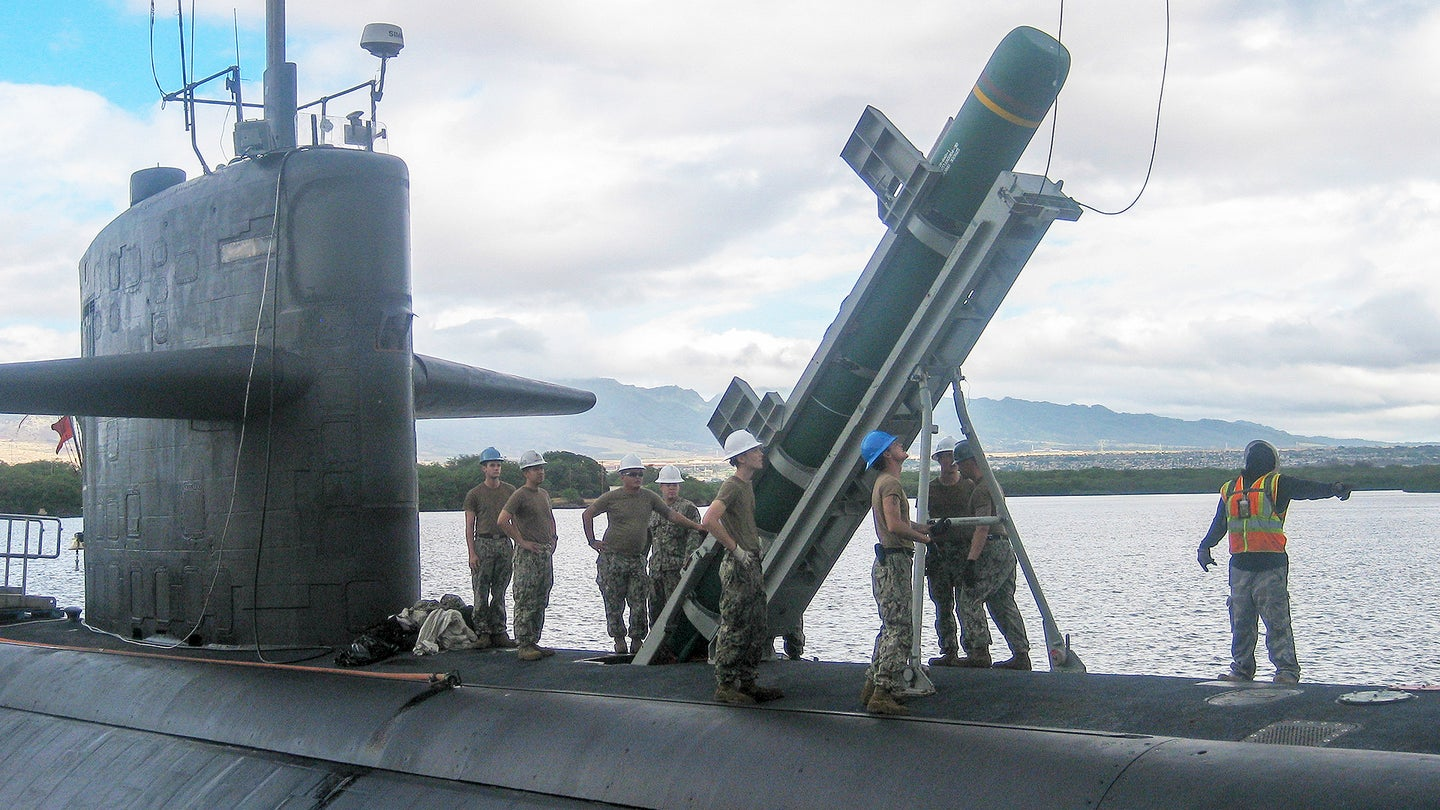 USS Olympia Conducts Harpoon Onload for RIMPAC Exercise