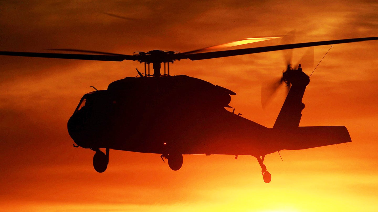 A California National Guard UH-60 Black Hawk helicopter from B Company, 1st Battalion, 140th Aviation Regiment, departs Camarillo Airport in Camarillo, California, at sunset Sun., Dec. 10, 2017, for a return to Joint Forces Training Base Los Alamitos after making its last water drops of the day on the Thomas Fire burning in Ventura County. (U.S. Air National Guard photo by Senior Airman Crystal Housman)