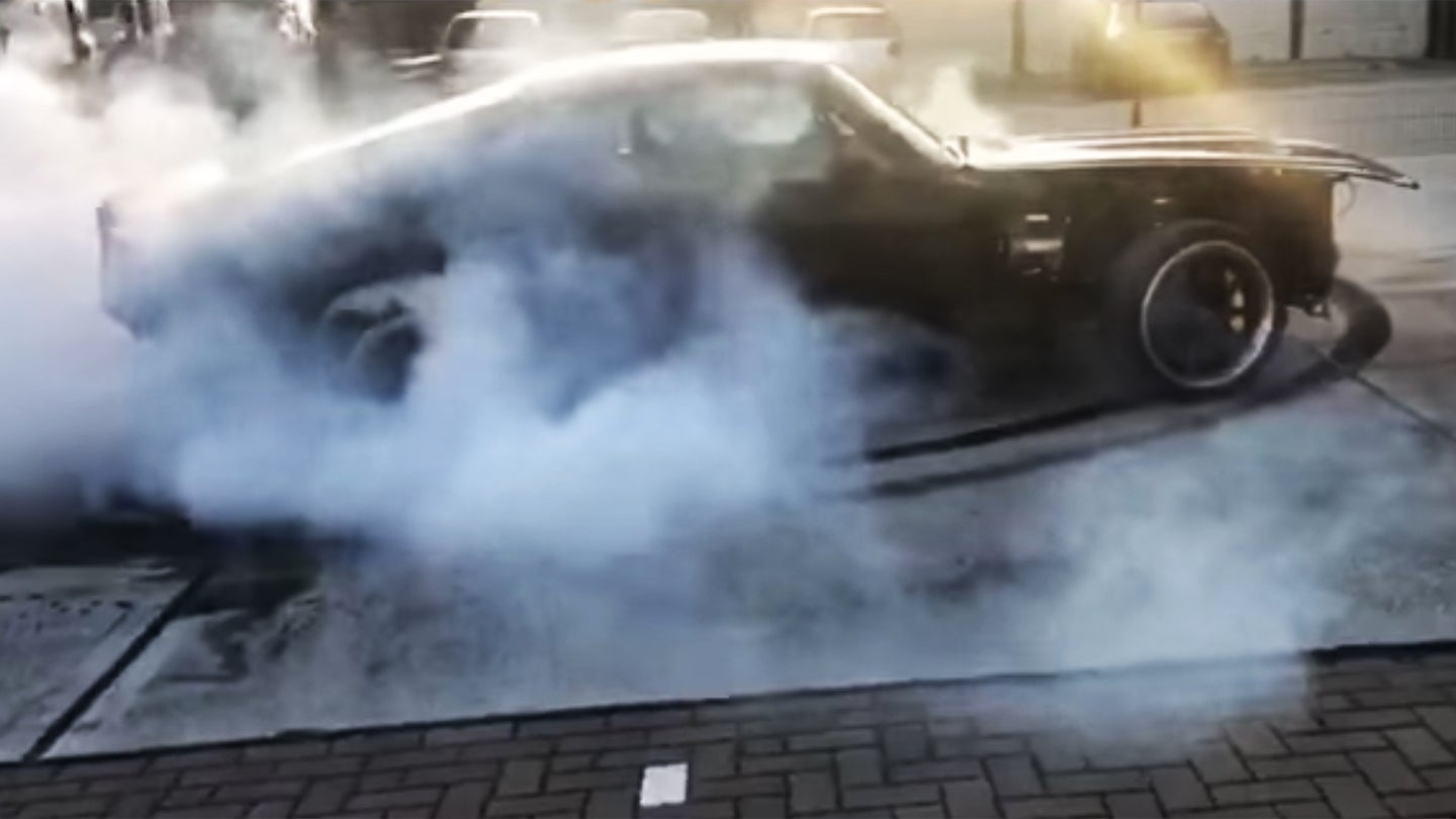 charge automotive electric ford mustang burnout