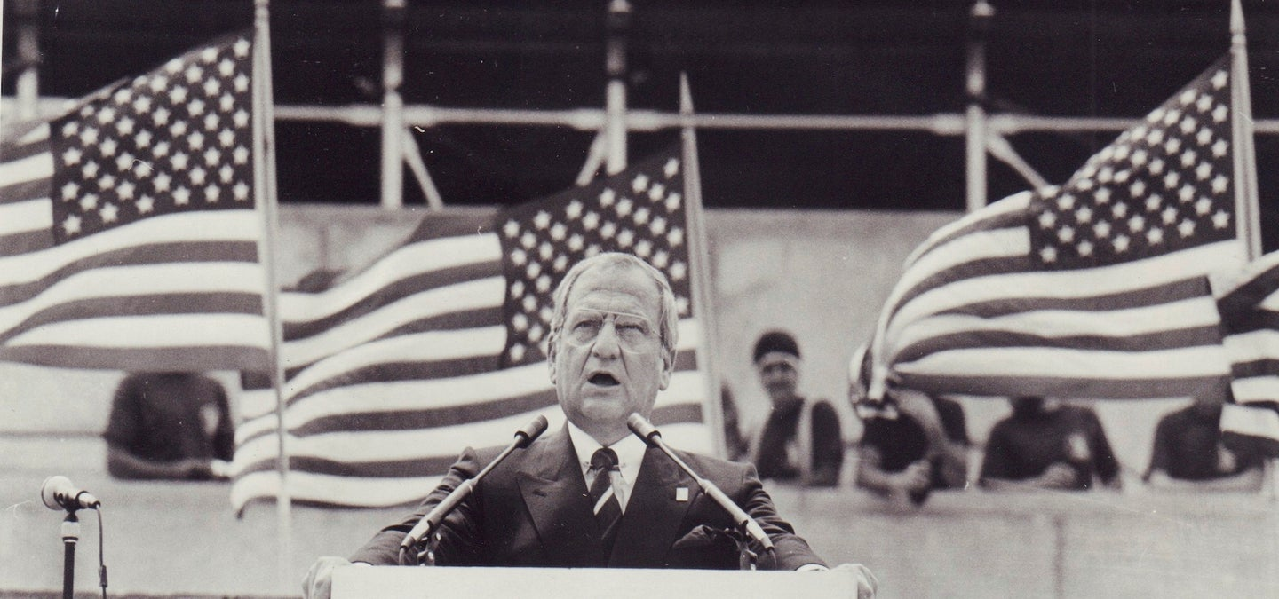 Lee Iacocca at the Ellis Island ceremony in 1984