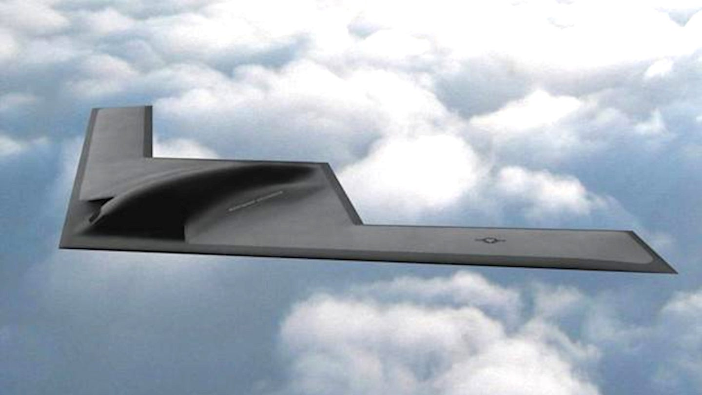 Northrop Grumman concept art of the B-21 Raider stealth bomber.