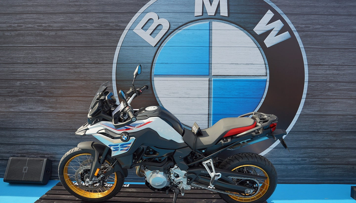 "A BMW motorcycle ""F850"" is display at MOTORCYCLE SHOW 2018"
