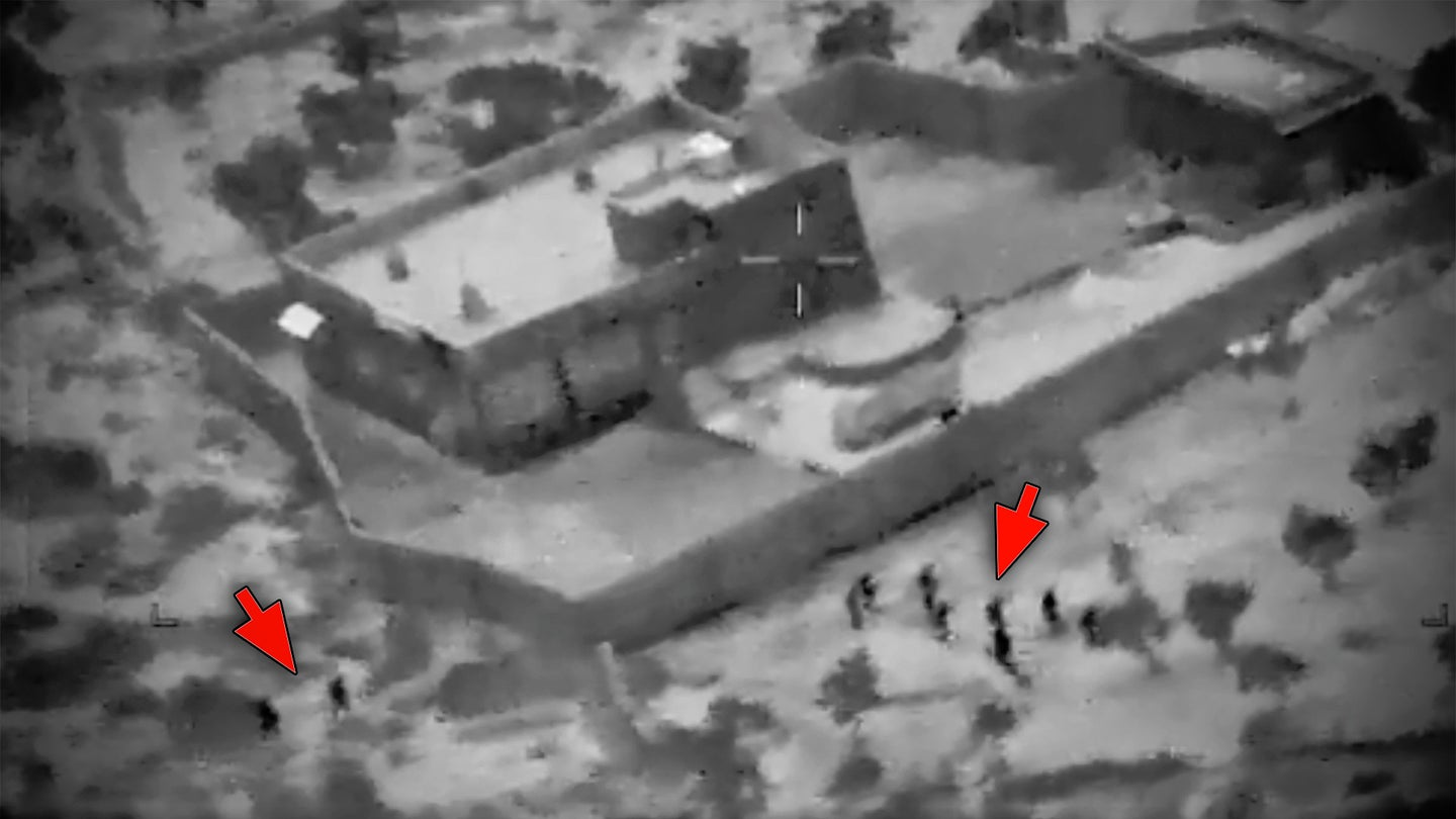A annotated screen capture of a video from the raid that led to the death of ISIS leader Abu Bakr al-Baghdadi on Oct. 26, 2019.