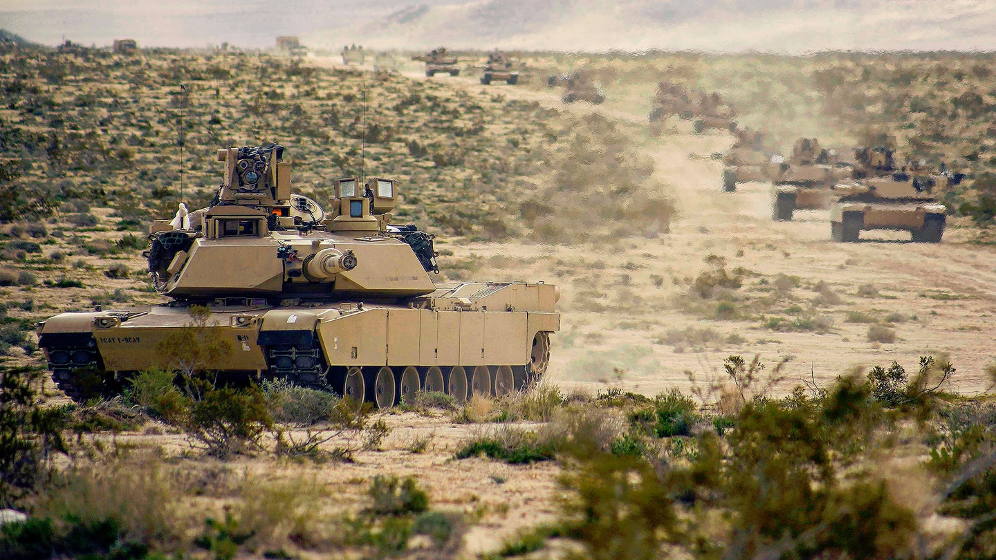 US Army M1 Abrams tanks.