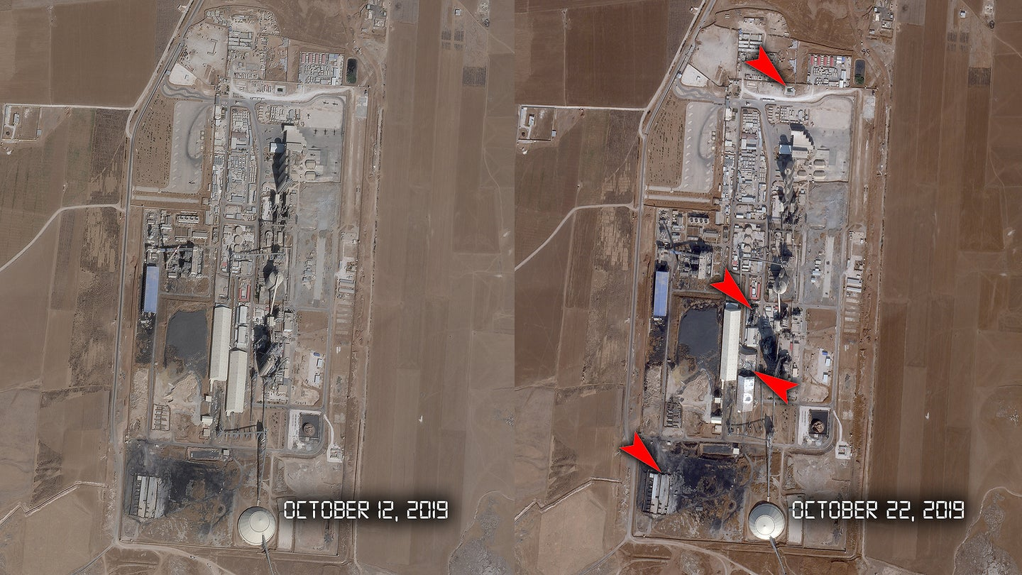 Satellite photos of the Lafarge Cement Factory in Syria before and after US Air Force F-15Es bombed it after U.S. and coalition forces abandoned their base there.